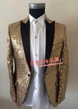 fashion men gold suit set spring summer autumn winter male  decorative pattern personality singer dancer stars bar