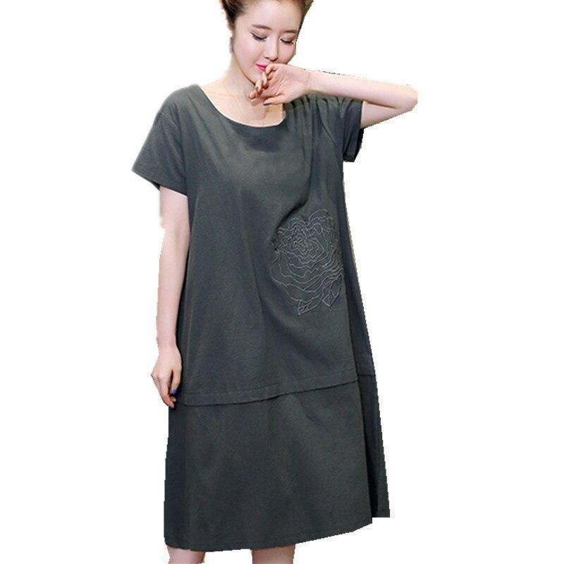Popular Plus Size Cotton Linen Dresses-Buy Cheap Plus Size Cotton ...