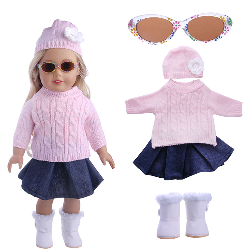 Pink sweater + pink hat + denim skirt + glasses + shoes 5 suit for 18 inch American girl ...