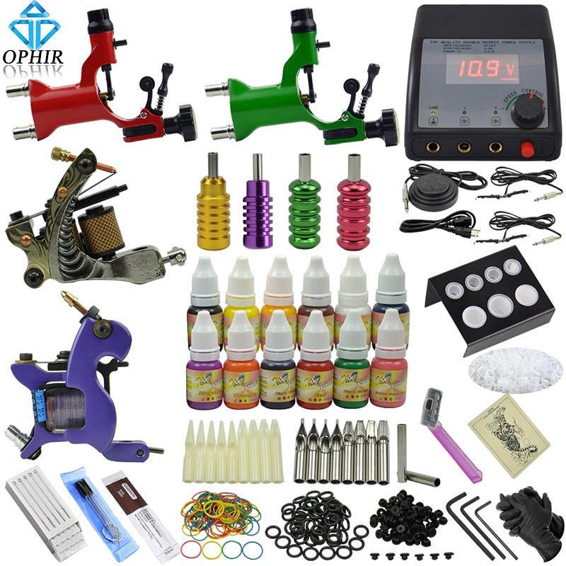 OPHIR 354pcs PRO Complete Tattoo Kit 4 Tattoo Machine Guns 12Color Tattoo Inks & 50pcs Needle Tattoo Nozzle & Tattoo Grips_TA091 ophir 0 2mm 0 3mm