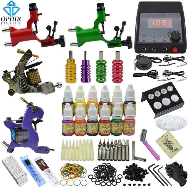 OPHIR 354pcs PRO Complete Tattoo Kit 4 Tattoo Machine Guns 12Color Tattoo Inks & 50pcs Needle Tattoo Nozzle & Tattoo Grips_TA091