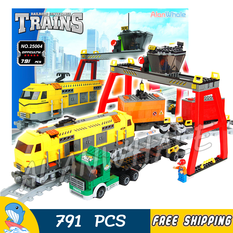 791pcs Creator Classical Cargo Trains Station Truck 25004 Model Building Blocks Bricks Railway Track Toys Compatible With lego 3d dynamic models of a railway track for high speed trains