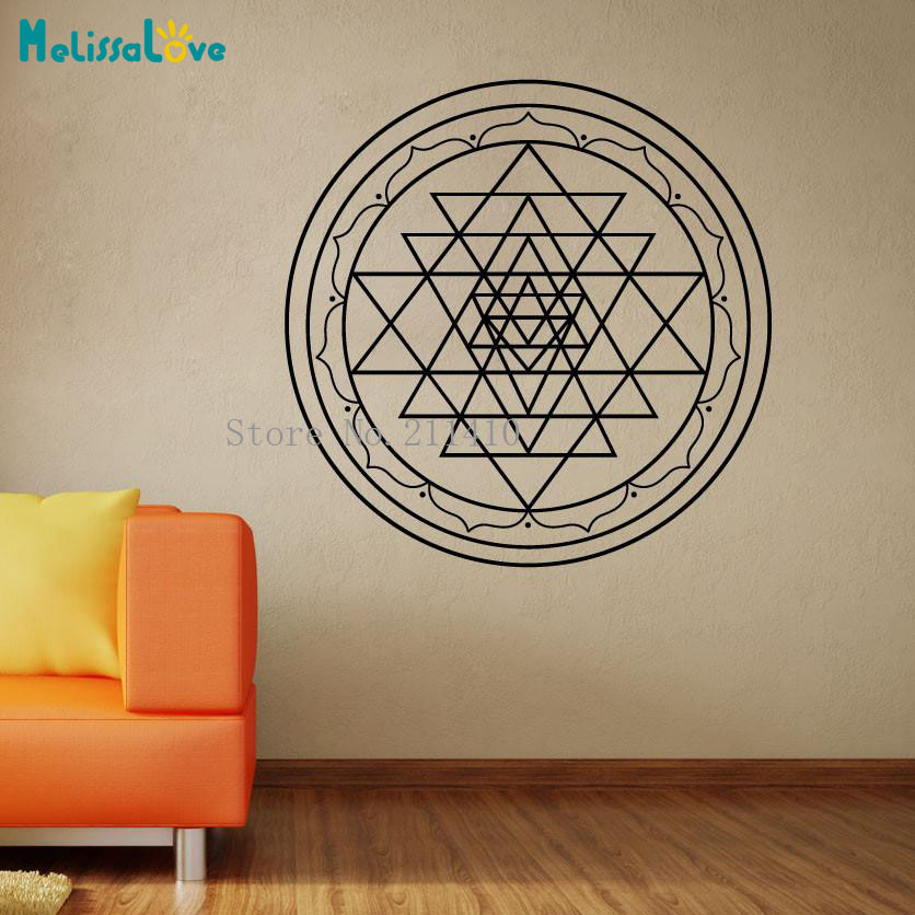 US $5 58 30% OFF Art Vinyl Wall Sticker Sri Yantra Decals Home Decoration  For Living Room Bedroom 3D Self adhesive Nursery Murals Gift YY851-in Wall