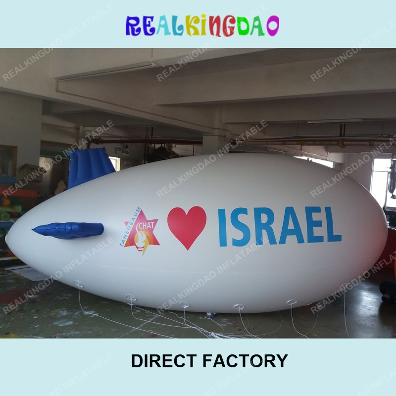 Luck 6m/19.6ft Adverizing Inflatable Airship White Body,Inflatable Blimp Print Your LOGO,Inflatable Zeppelin Digital printing