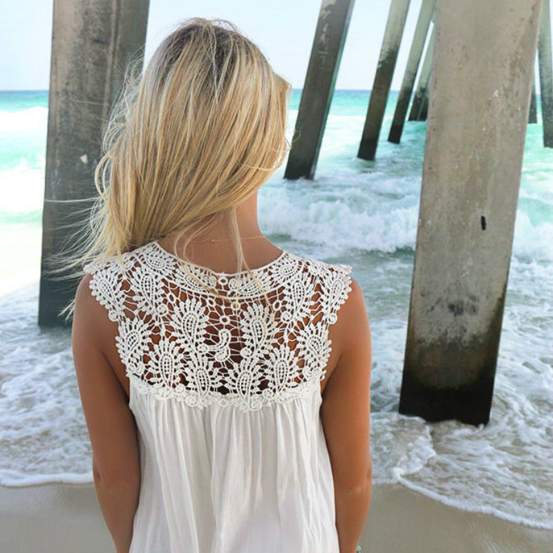 2018 Sexy Chiffon women dress summer casual Sleeveless loose dress lady Hollow Out White tunic lace Beach Dress plus Size 1
