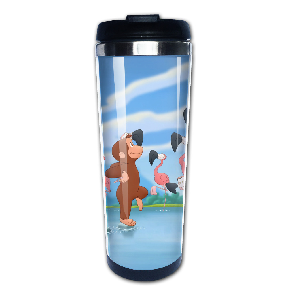 curious george coffee mug gift men tazas stainless steel tumbler caneca tea Cups