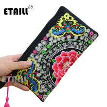 Hmong Thai Indian Embroidered Wristlet Bag Clutch Purse Boho Ethnic Phone Money Bag Famous Top Brand Clutches Embrague Bolsos de(China)