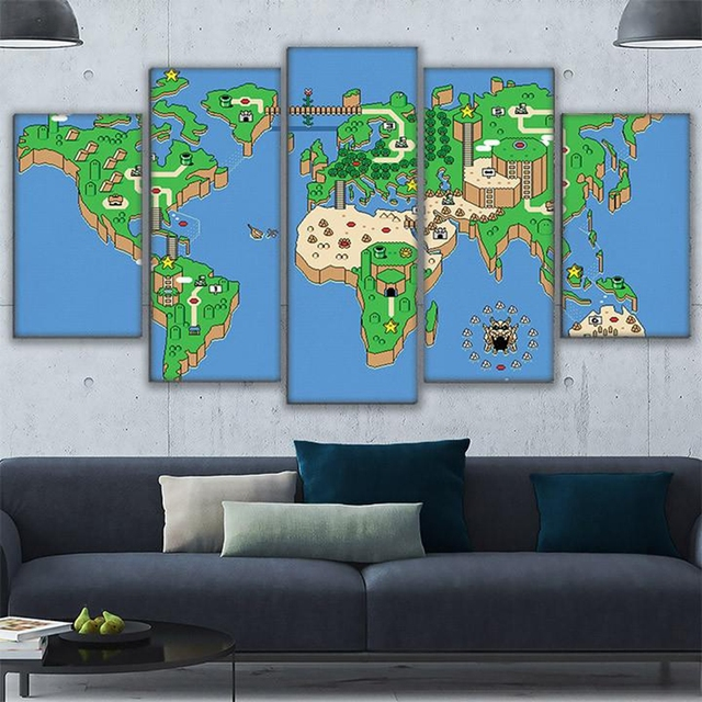 Canvas Wall Art Pictures Home Decor Living Room Framework 5 Pieces Super  Mario Paintings Modular HD