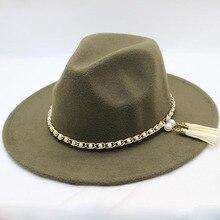 SUOGRY модные Для мужчин Для женщин Винтаж шерсть фетровая Панама джазовая, шляпа фетровой жемчуг ремешок шириной элегантные черные шапки