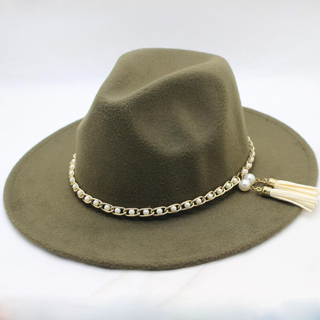 SUOGRY Fashion Men Women Vintage Wool Felt Fedora Panama Jazz hat Trilby  Pearl Band Wide Elegant 17bf0cf491aa