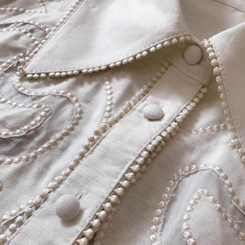 Tang Pist Takım Elbise kadın Parlama Kol Yay Yaka nakış Iki Parçalı Set üst ve pantolon 2 Parça Set Kadın Bluzlar Casual pantolon