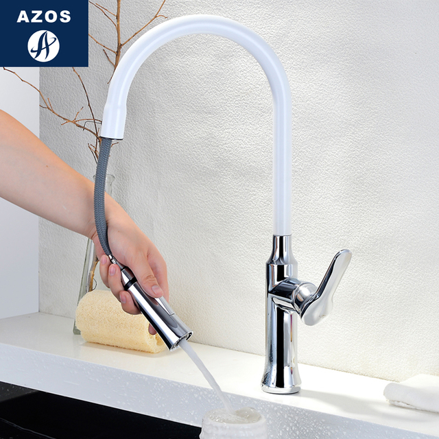 Kitchen Sink Faucets 360 Free Swivel Pull Out Hose Spray White Porcelain Paint Single Handle Solid Brass Deck Mixers CLCF001B