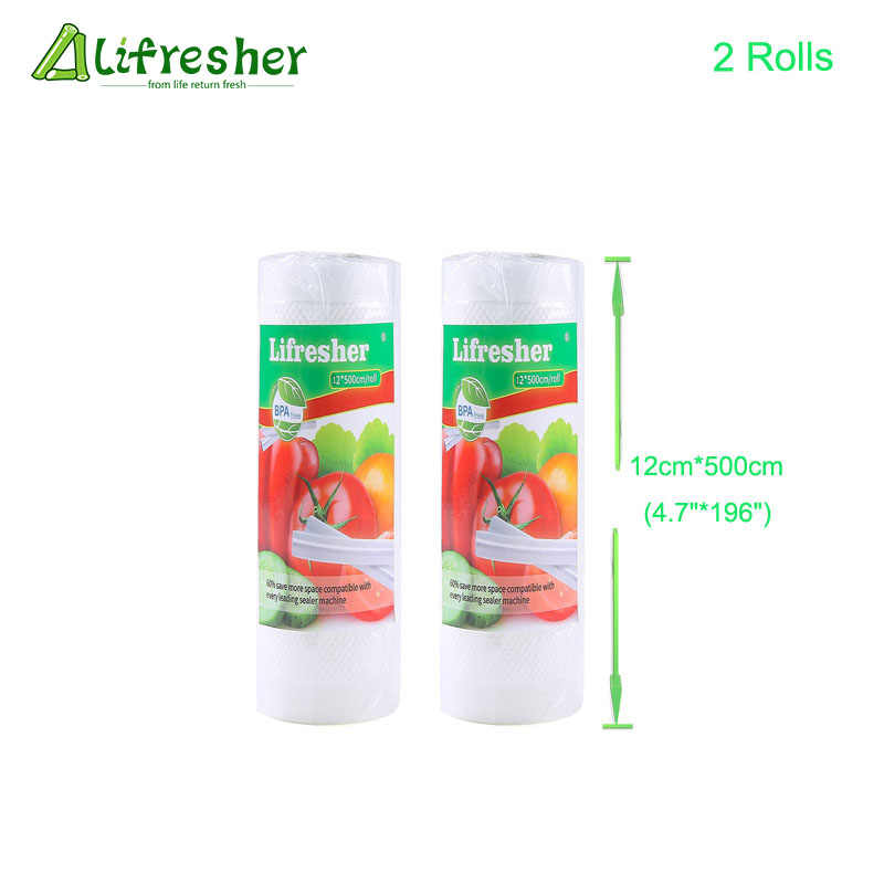 Lifresher Vacuum Sealer Bags For Food Storage Vacuum Food Bag Roll Vacuum Bag 12 15 17 20 25 28 cm*500cm 2 Roll Dropshipping