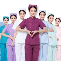 Women's Fashion Scrub Set Medical Uniforms Stand Collar Short Sleeve Side Opening Front Scrubs Tops + Pants Clinic Uniforms