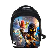 Купить с кэшбэком Kids Cartoon Movie Backpack 2017 Lego For Boys Girls  Backpacks Lego Ninjago Pattern SchoolBag Kids Daily Backpacks Best GiftBag