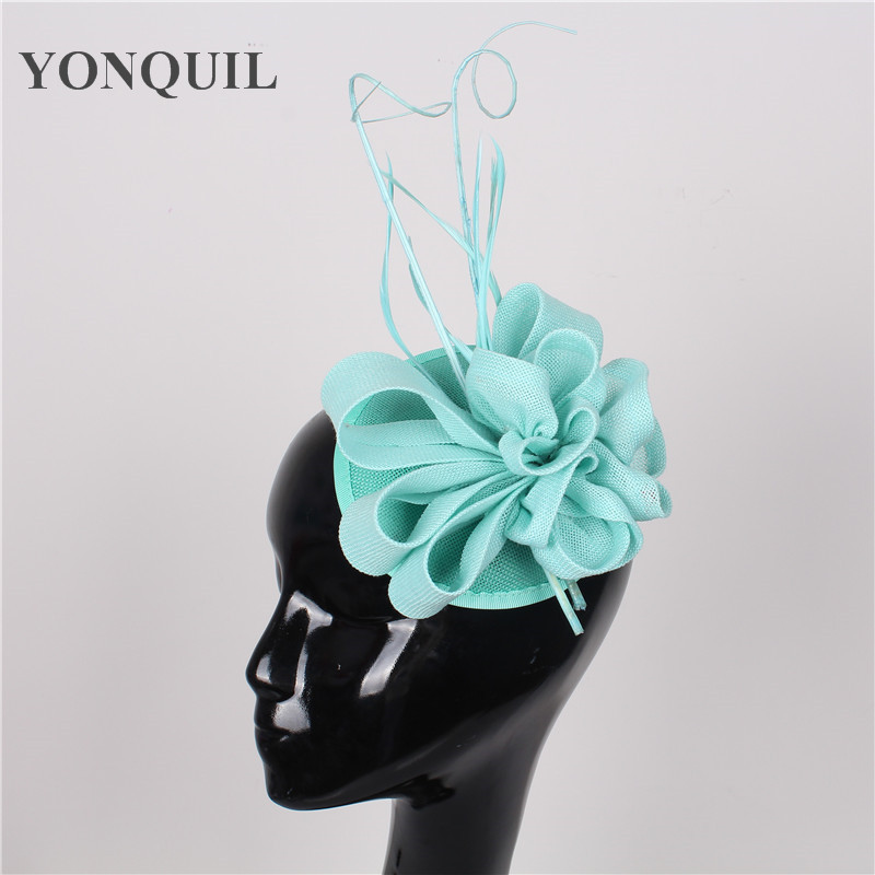 New colors arrival Imitation Sinamay fascinator hat with ostrich quill and feather for Kentucky Derby church wedding party races new arrival 30cm red millinery black imitation sinamay fascinator base with lace party diy hair accessories cocktail headpieces