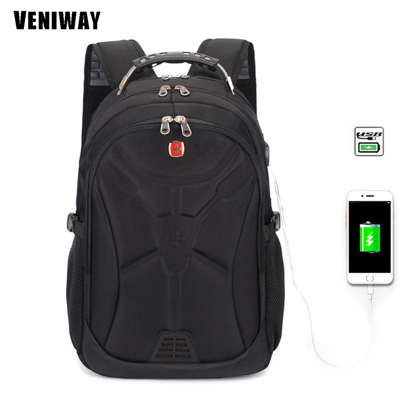 VENIWAY USB Charge Laptop Backcpack Swiss Backpack Gear Men Business Daily Bag Travel Bag Large Capacity male mochila sac a doc swisswin black business backpack male swiss military 15 6 computer bag mochila masculino orthopedic backpack sac a dos sw6007v