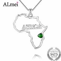 Almei Diopside Hiphop Africa Map Hollow Necklace Silver 925 Pendant Gift for Men/Women Ethiopian Jewelry Trend with Box CN063