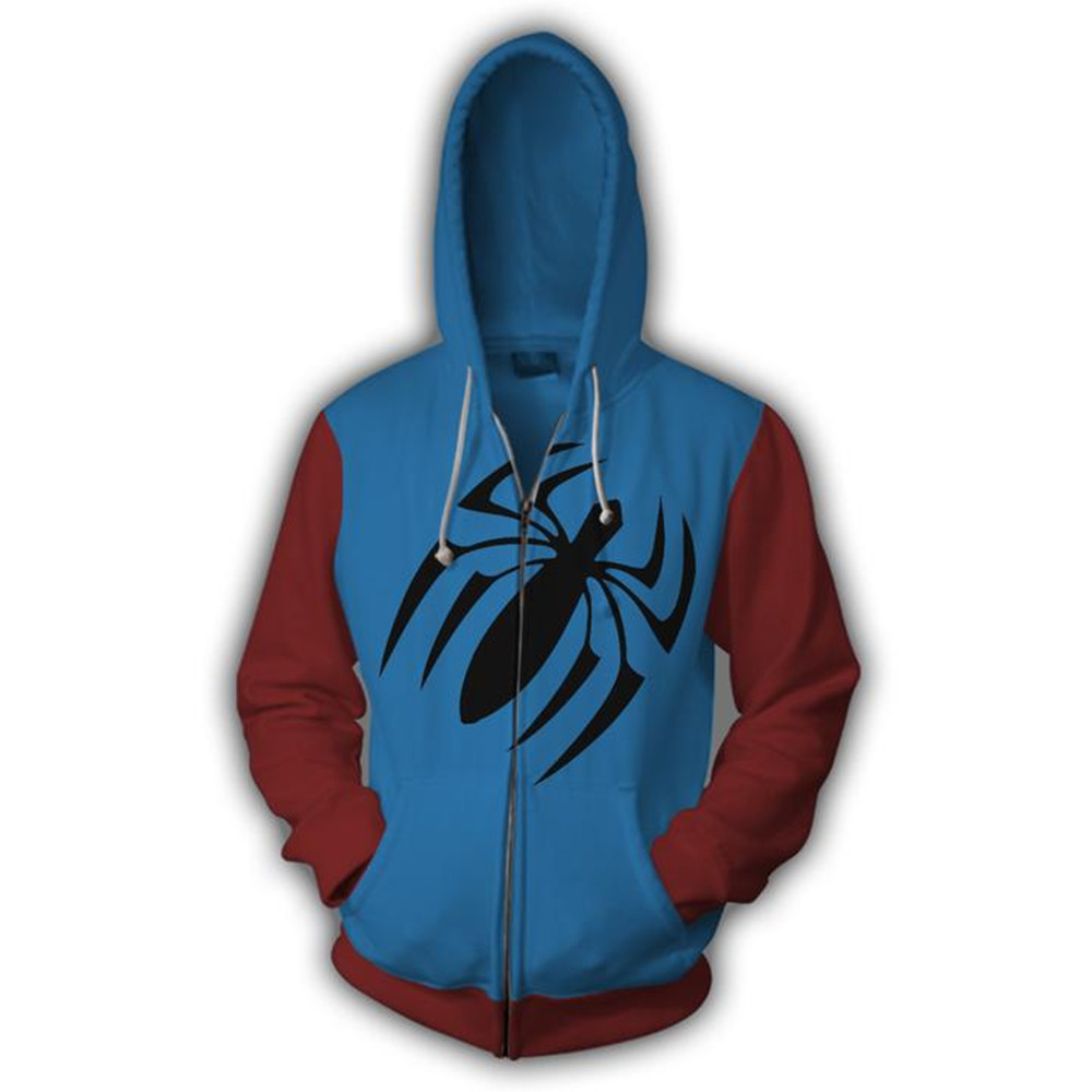 Scarlet Spider Man Hoodie Men Sweatshirt Cosplay Costume Zipper Coat Jacket Spring Tops