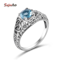 Szjinao Birthstone Love Ring Cushion Aquamarine Fashion Korean Wedding Ring 100 925 Sterling Silver Jewelry Wholesale