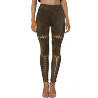 TAUPIN AM Suede Leather Women Pants High Waist Lace Up Stretch Bodycon Pencil Pants Leggings 2017