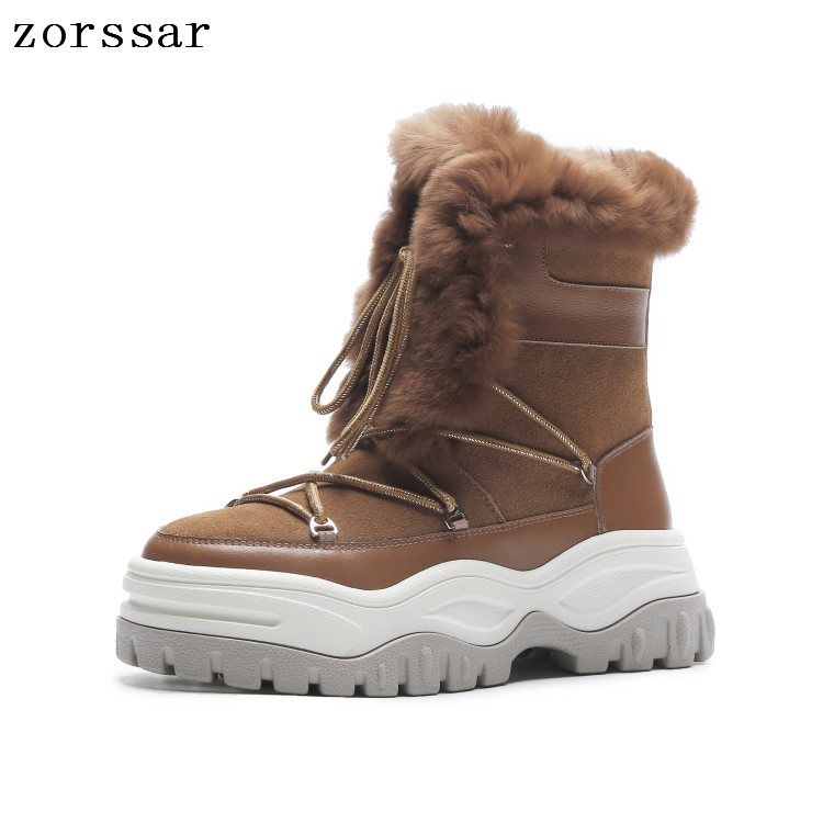 Zorssar 2018 Warm plush Women Shoes Winter Woman Snow Boots Ankle Platform boots Fashion suede Ladies flat Boot Footwear zorssar 2017 new classic winter plush women boots suede ankle snow boots female warm fur women shoes wedges platform boots