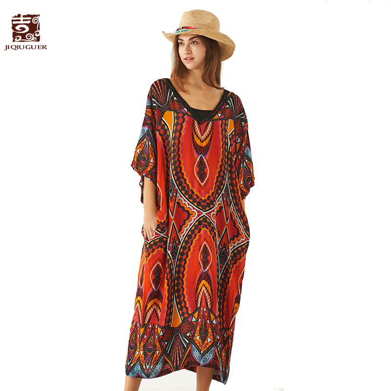 Здесь продается  Jiqiuguer Women Floral Summer Casual Dresses Bohemian Pockets Print V-Neck 100% Viscose Ankle-Length Loose Vestidos G182Y057  Одежда и аксессуары