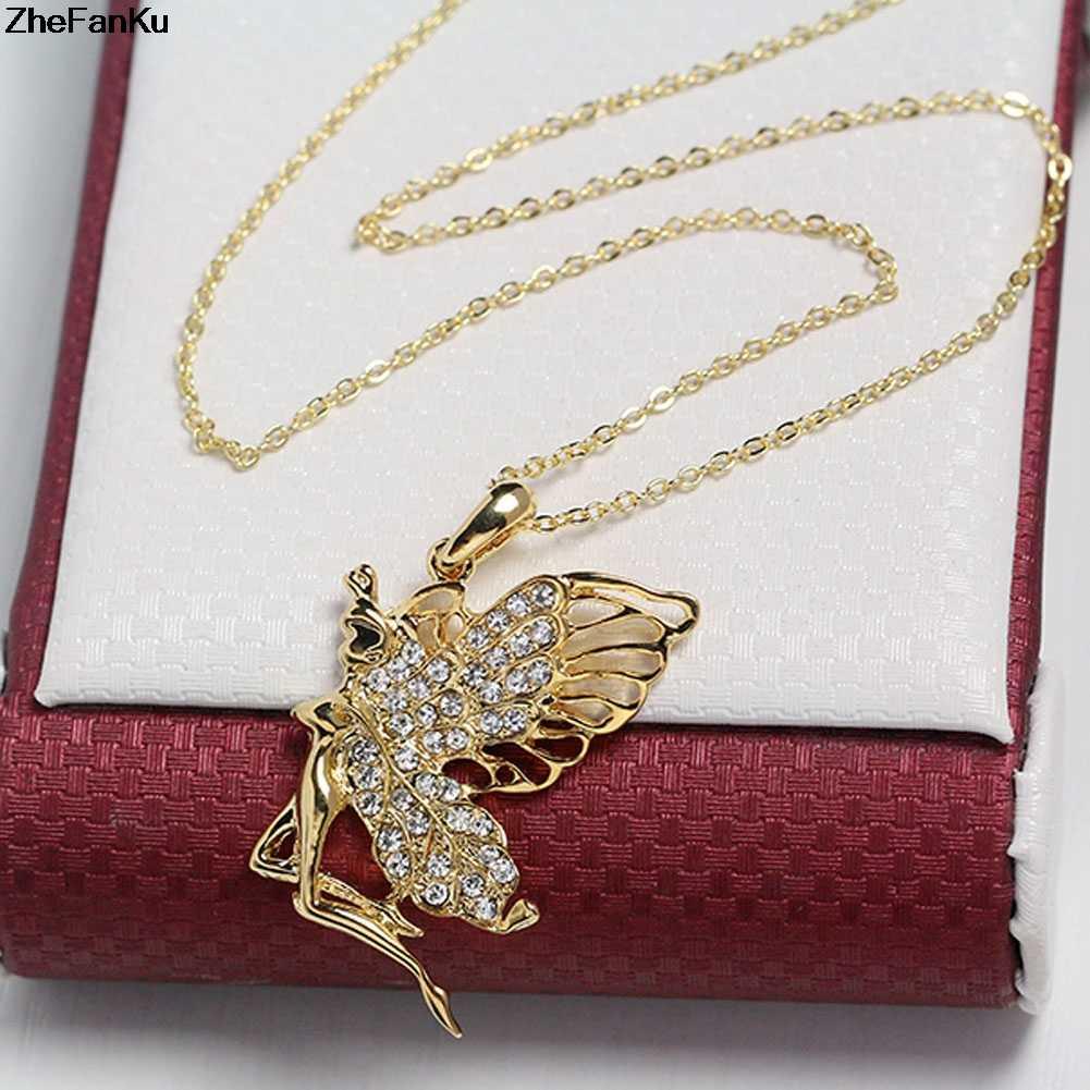 Kryształ w złotym kolorze anioł dziewczyna wróżka naszyjnik choker stop cynkowy dziewczyna kobiety