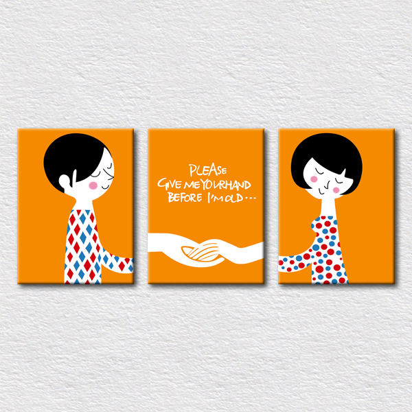 Canvas printed designs love picture please give me your hand before Im old Orange background picture wall painting