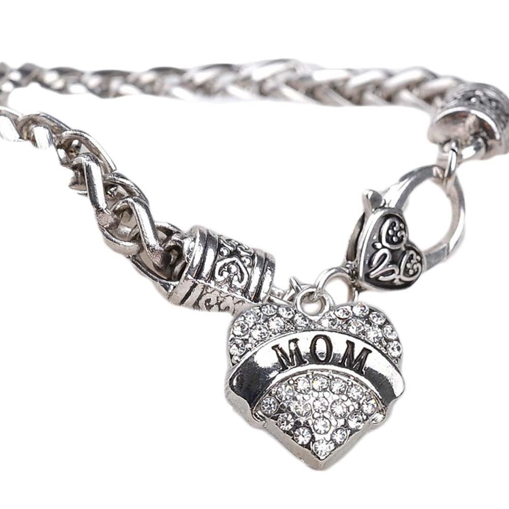 New Arrival Vintage Engraved Mom/ Niece /Teacher /Sister /Big Sis/ Nana Letter Full Rhinestones Heart Pendant Bracelets Gift