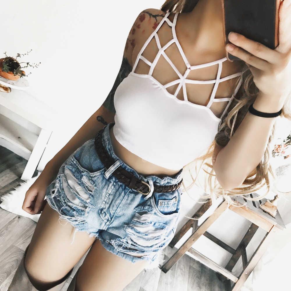 Женская летняя безрукавка, бюстье, укороченный топ, жилет, повседневные топы, блузка, футболка, одежда для ночного клуба, сексуальная однотонная одежда на бретелях