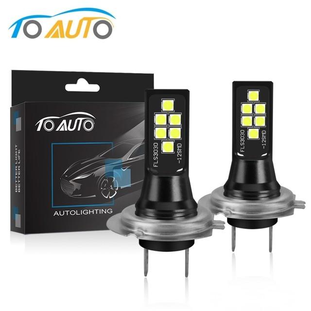 2Pcs H7 LED Bulb Super Bright 1400lm 12 3030SMD Car Fog Lights 6000K White Driving Day Running Lamp Auto DC 12V 24V