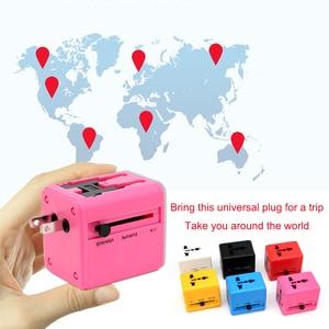 Image 3 - International Travel Adapter Mehrere farbe Elektrische Plug Power Universelle Buchse Adapter USB Power Charger Konverter EU UK US AU