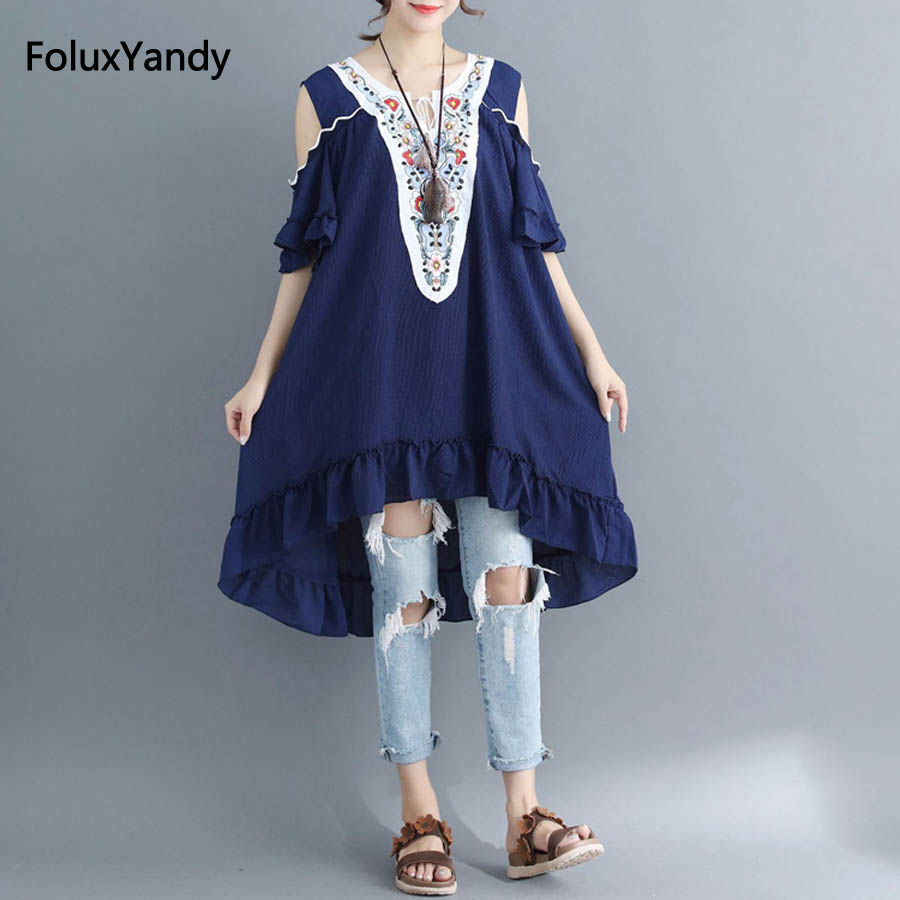 Hollow Out Off the Shoulder Dress Women Plus Size 7 XL Floral Embroidery Loose Short Sleeve