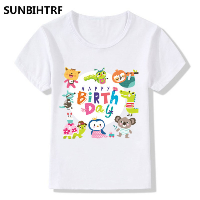 ed4ed4cf03 Cute Cartoon Art Word Happy Birthday Design Funny Children's T-Shirts Big  Boys Girls Summer Tops Tees Kids Casual Baby Clothes