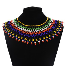 Idealway Bohemian Ethnic Colorful Bead Tassel Necklace for Women Vintage Tribal Jewelry Red Blue Choker Necklace blue mermaid scales tassel necklace