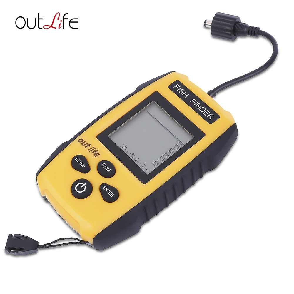 ФОТО Outlife Fish Finder 0.7 - 100M 200KHz 45 degree English Russian Fish Finder  High-quality ABS Sonar Alarm with Stable Signal