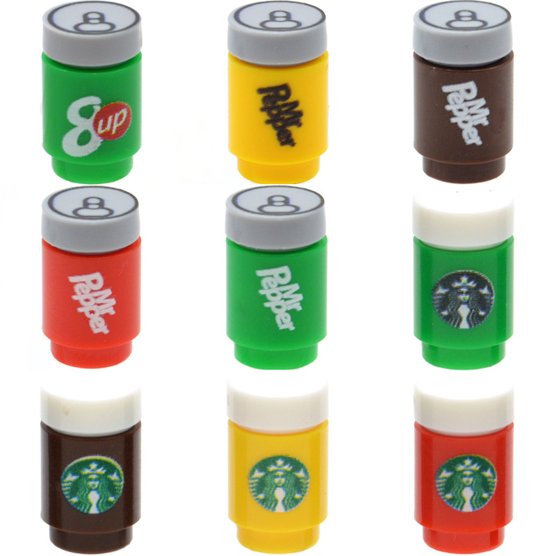 5pcs/lot Brick Printed Cola Drinks Can Spirit Tonic Water MOC City Parts Building Blocks Gifts Toys for Children image