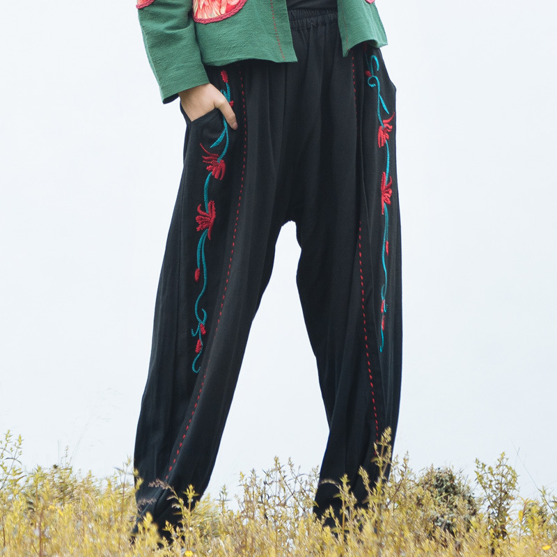 Autumn New National Style Retro Loose Bloomers Chinese Style Embroidery Harem Pants Ladies Trousers