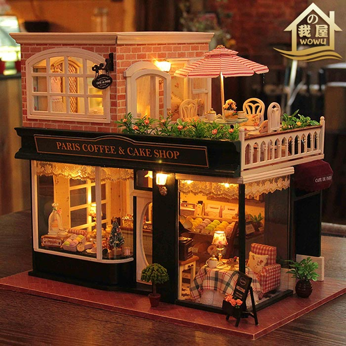 XXXG DIY cabin French coffee tour handmade big house model villa to send her boyfriend birthday gift girl