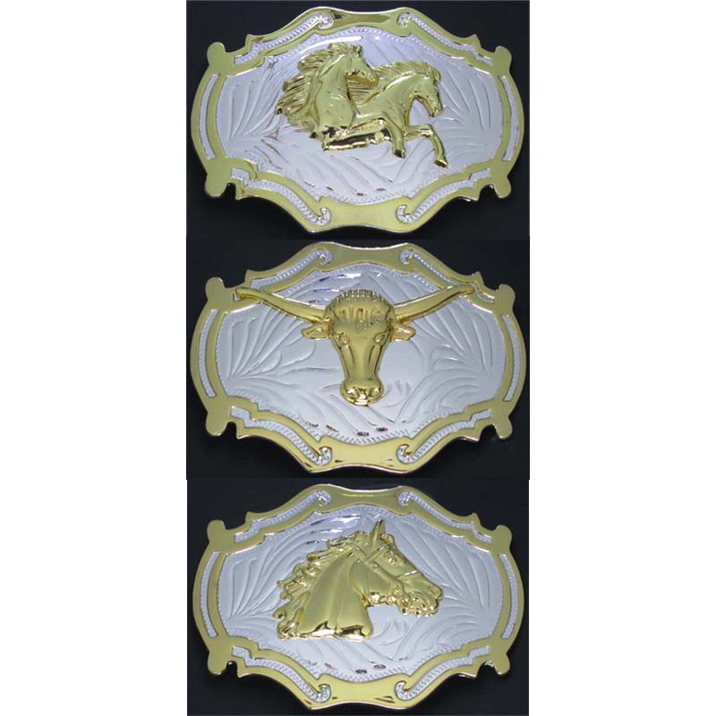 Double Horsehead & Bull Head & Horsehead Western Belt Buckle Silver With Gold Three Kinds Of Accessories