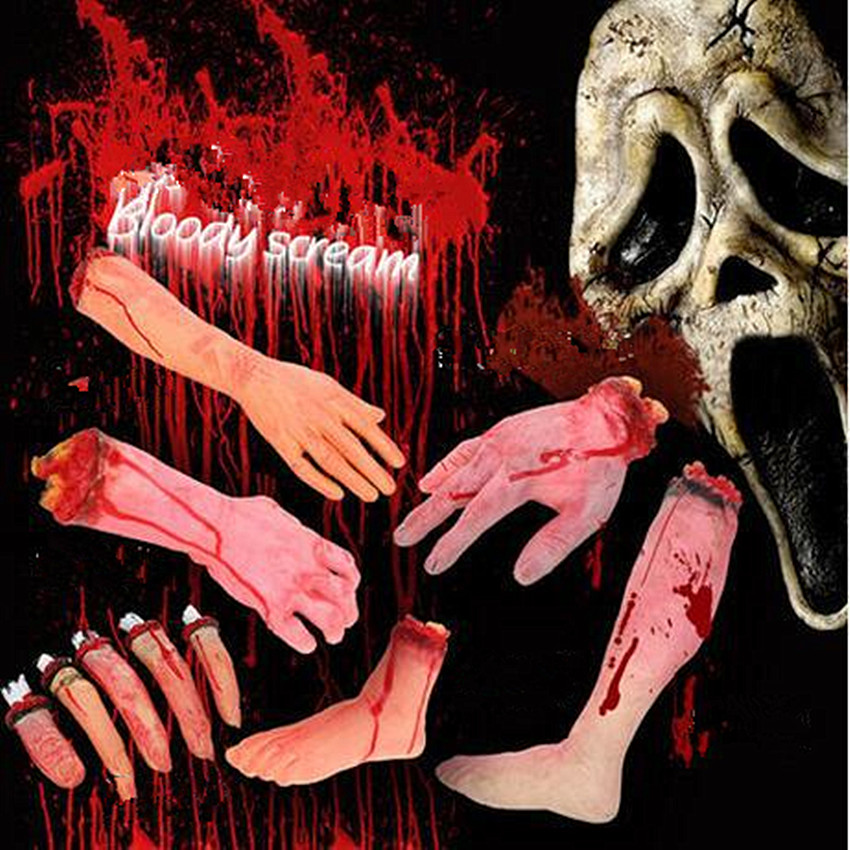 Horror Trick Toy Scary Prop Latex Stump Bloody Cut Hand Bone Practical Joke Rubber Artificial Broken Hand Broken Feet Gags Toy