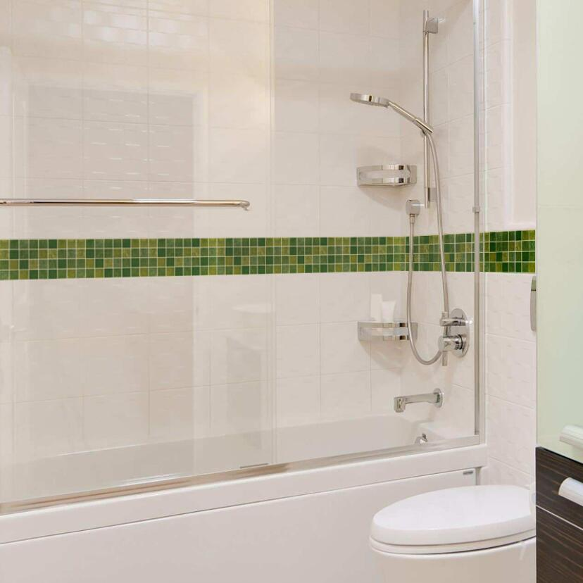 Us 9 89 37 Off Classic Green Grid Wallpaper Borders Waterproof Bathroom Tile Waist Line Stickers Diy Adhesive Kitchen Wall Decor Sticker Ez073 In