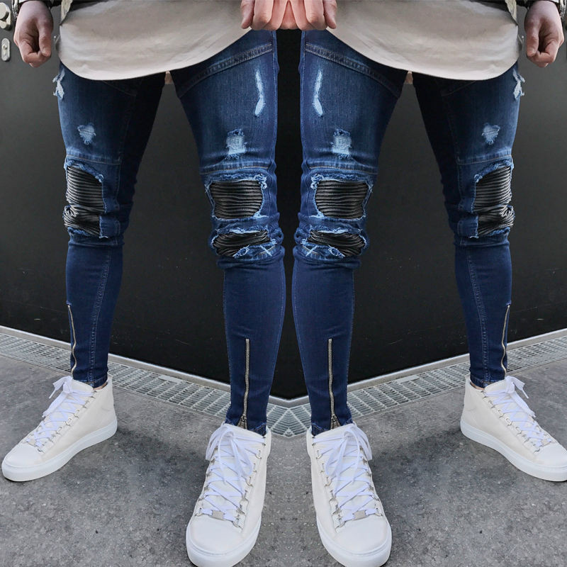Fashion Men S Straight Vintage Frayed Denim Zipper Pants Washed Ripped Destroyed Jeans Blue