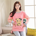 Pregnant cotton knit nursing maternity pajamas casual month of breastfeeding tracksuits heart cat cartoon printed clothes
