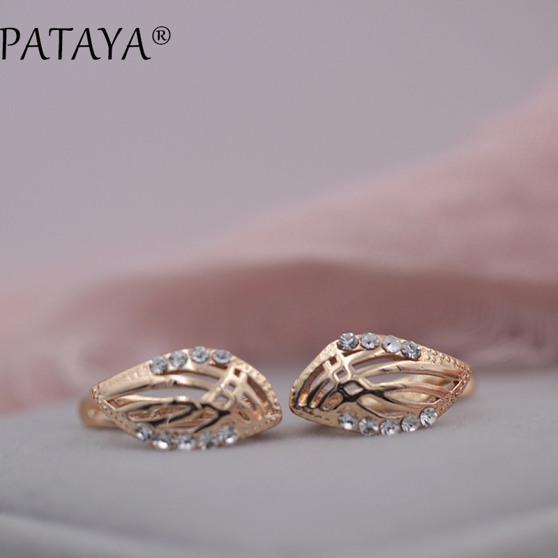 PATAYA New Arrivals Fashion 585 Rose Gold Hollow Leaf Drop Earrings Women Simple Beautiful Arc White Round Rhinestones Jewelry