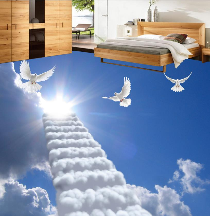 3D photo bathroom scaling ladder custom fantasy 3d floor tiles for living room waterproof self adhesive floor wallpaper beibehang custom papel de parede 3d photo wallpaper living room bathroom floor stickers waterproof self adhesive wallpaper mural