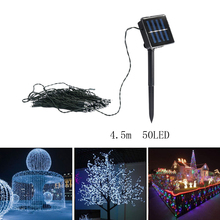 4.5m String 50 LEDs Star Solar Power Fairy Lights Holiday Lighting New Year Christmas Party Garden Tree Decoration String Lamp