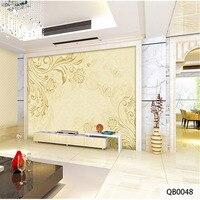 Custom 3D Print Stereoscopic Fabric Textile Wallcoverings For Walls Matt Silk For Living Room Golden Flowers