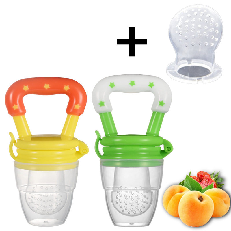 Fresh Food Nibbler Baby Pacifiers Feeder Kids Fruit Feeder Nipples Feeding Safe Baby Supplies Nipple Teat Pacifier Bottles convenient baby medicine feeder helper yellow translucent white